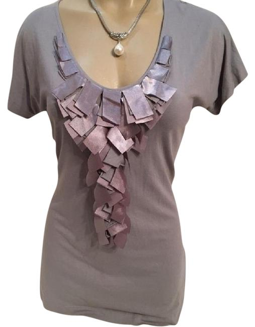 Preload https://item4.tradesy.com/images/riani-gray-ruffle-front-tee-shirt-size-10-m-21068298-0-1.jpg?width=400&height=650