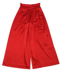 St. John Red Pleated Silk Wide Leg Pants
