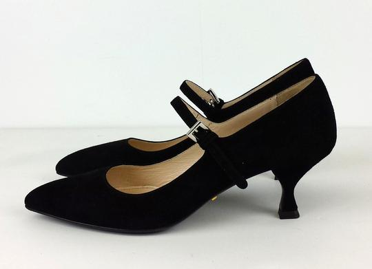 Prada Suede Pointed Toe Kitten Heels Black Sandals