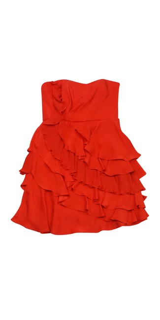 Preload https://img-static.tradesy.com/item/21068327/ali-ro-orange-strapless-ruffled-silk-short-casual-dress-size-10-m-0-0-650-650.jpg