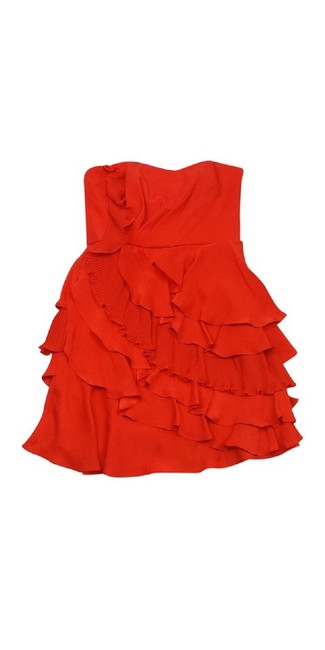 Ali Ro short dress Orange Strapless Ruffled Silk on Tradesy