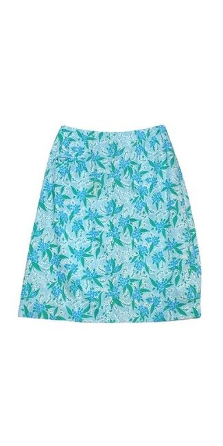 Lilly Pulitzer Floral Print Skirt Blue & Green