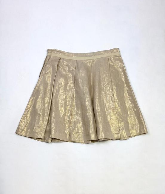 See by Chloé Linen Pleated Skirt Gold Metallic