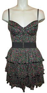 Rachael & Chloe short dress black, pink & green Corset Ruffled Floral on Tradesy