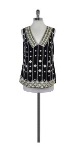 Tory Burch Embellished Clayton Top Navy & Cream