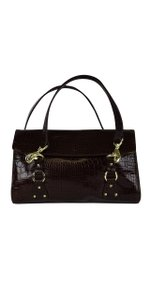 Ralph Lauren Croc Embossed Leather Shoulder Bag