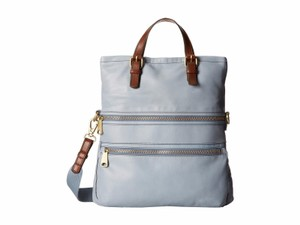 Fossil Leather Explorer Tote in Smokey Blue