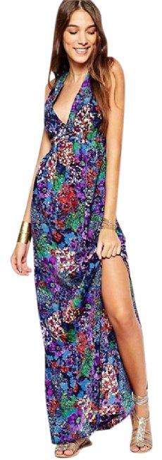 Maxi Dress by ASOS Open Back Maxi Floral Long V Neck