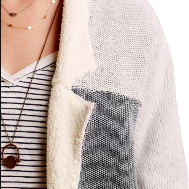 Anthropologie Super Soft Ultimate Comfort Faux Leather Trim Two Front Pockets Open Front Cardigan