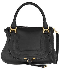 Chloé Chloe Medium Marcie Textured Leather Gray New Tote in black