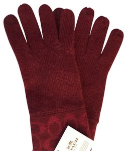 Coach Coach Knit Signature Logo Tech Touch Wool Cashmere Gloves