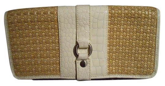 Preload https://item1.tradesy.com/images/cole-haan-white-and-tan-textile-with-leather-trim-clutch-2106900-0-0.jpg?width=440&height=440