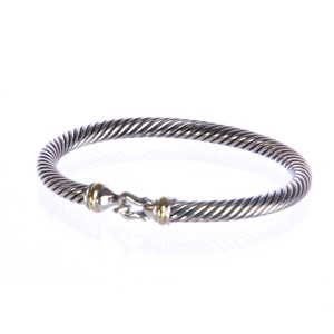 David Yurman Women's Cable Buckle Bracelet with Gold 5mm Size Medium $495 NEW