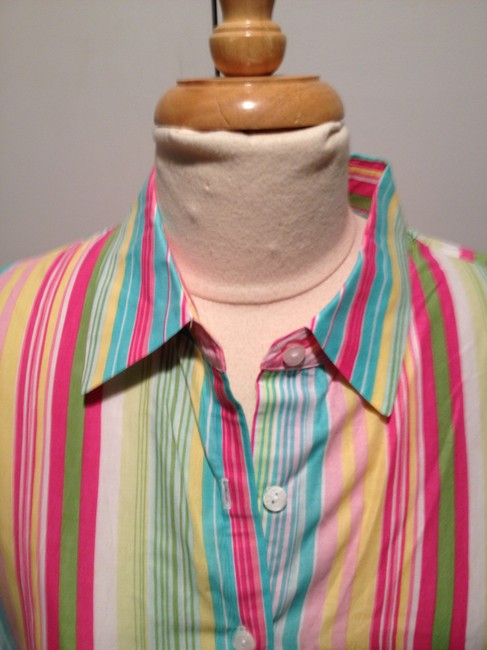 Talbots Button Down Shirt Spring Stripes