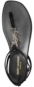Saint Laurent Ysl Ankle Strap Leather Black Sandals