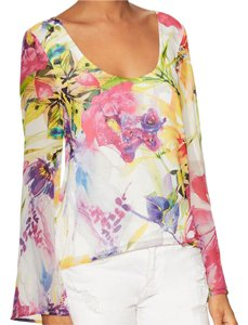 Yumi Kim Ring My Bell Bell Sleeve Silky Floral Garden Swingy Tunic Top Pink Yellow White
