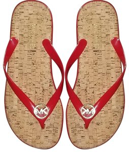 Michael Kors Studs Mk Red and gold Sandals