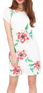 Yumi Kim short dress White Classic Mini Shift Elana Floral Exposed Back Zip Garden Party Chic Silky Rosebud on Tradesy