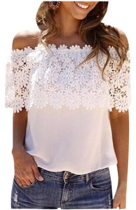 Other Lace Chiffon Spliced Off Summer Top WHITE