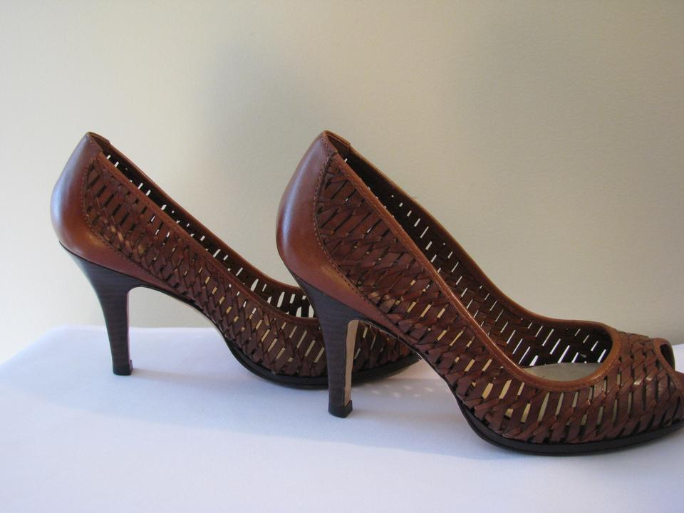 7c80522577d Cole Haan Peep Toe Nike Air Woven Leather Brown Lattice Pumps Image 7.  12345678