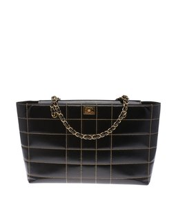 Chanel Leather Large Quilted Tote in Black