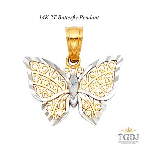 Top Gold & Diamond Jewelry 14K Two Tone Butterfly Pendant