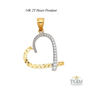 Top Gold & Diamond Jewelry 14K Two Tone Heart Pendant