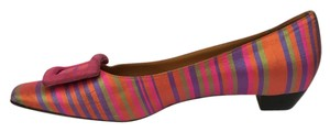 Diane B. Diane B. Italian Low Wide Heel Silk Leather striped Flats