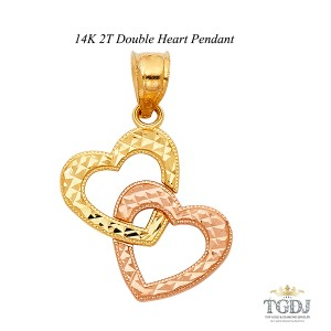 Top Gold & Diamond Jewelry 14K Two Tone Double Heart Pendant