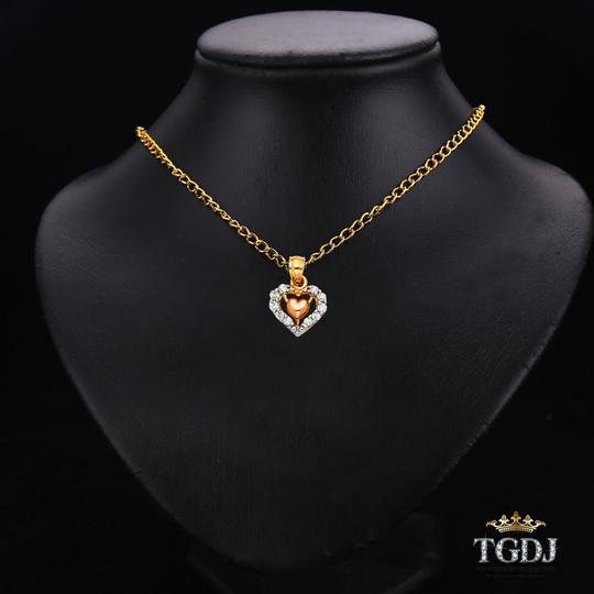 Top Gold & Diamond Jewelry 14K Two Tone CZ Heart Pendant