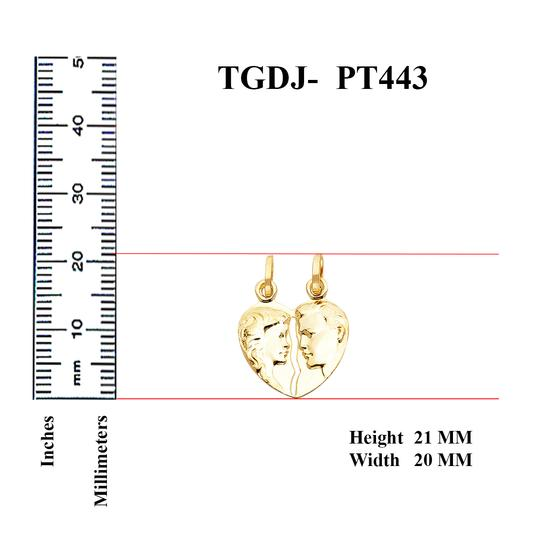 Top Gold & Diamond Jewelry 14K Yellow Gold Broken Heart Pendant