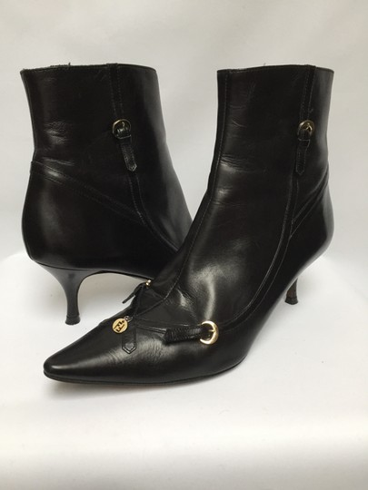 Fendi Monogram Supple Leather Stunning Black with Gold Hardware Boots