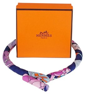 Hermès Hermes Multicolor Purple Silk Petit H Carre Toggle Necklace