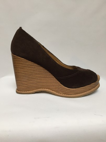 Massimo Leather No Slip Sole Open Toe Never Worn chocolate brown Platforms