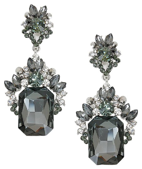 Other Emerald Cut Black Diamond Rhinestone Crystal Earrings & BONUS Brooch