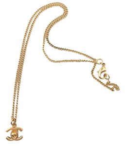 Chanel Chanel Gold CC Turnlock Mini Pendant Necklace