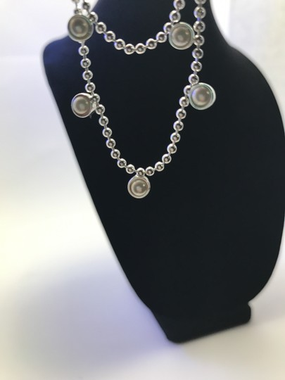MONET Monet Silver and Pearl Double Strand Necklace
