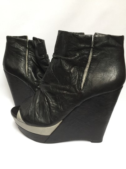 Modern Vintage Soft Leather Platform Bootie Open Toe Leather Lined Black with grey accent Wedges