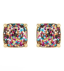 Kate Spade KATE SPADE Multi-Glitter Square Stud Earrings + KS Dust Bag