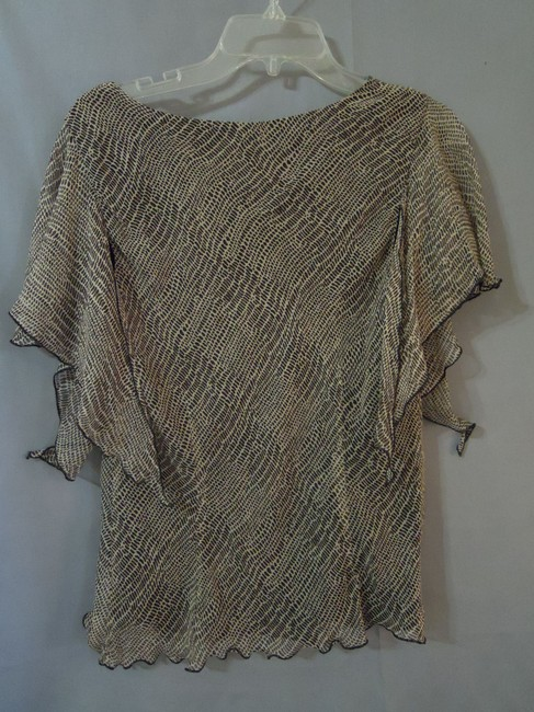 Robbie Bee Silk Animal Print Lined Top brown & beige
