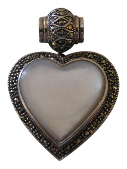 Preload https://item2.tradesy.com/images/sterling-silver-marcasite-mother-of-pearl-heart-pendant-necklace-21070076-0-2.jpg?width=440&height=440