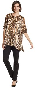 Chico's Animal Print Sharkbite Hem Date Night Top Brown