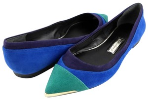 Boutique 9 Blue Pointed Toe Comfortable Suede Blue Multi Flats