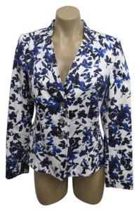 Basler Jacket/Blazer Size 36 Silver Buttons Blue and White Floral and Leaf Pattern Blazer