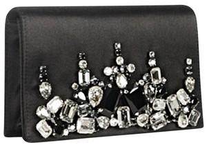 Prada Envelope Satin Swarovski Black Clutch