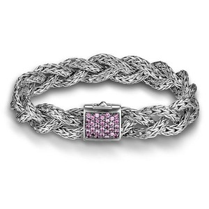 John Hardy John Hardy Silver Medium Braided Chain Bracelet with Pink Sapphire