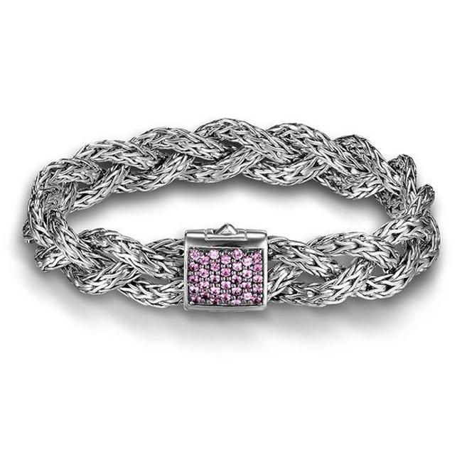 Item - Silver and Pink Medium Braided Chain with Sapphire Bracelet