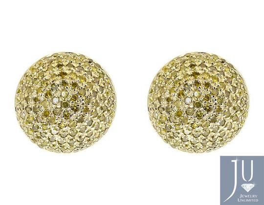 Other Mens Ladies Round Canary Pave Diamond 12mm Studs Earrings 1.2 ct