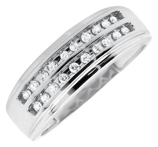 Preload https://item1.tradesy.com/images/10k-white-gold-mens-2-rows-round-cut-diamond-wedding-band-025ct-ring-21070370-0-1.jpg?width=440&height=440
