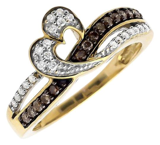 Preload https://item2.tradesy.com/images/10k-yellow-gold-open-heart-ribbon-brown-and-white-diamond-engagement-026ct-ring-21070386-0-1.jpg?width=440&height=440